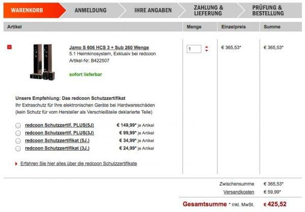 Österreich : Jamo S 606 HCS 3 + Sub 260 Wenge für 425,52 bei redcoon.at
