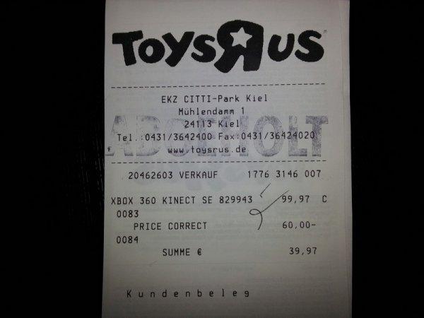 [Toys R Us Kiel] - Kinect Sensor inkl. Kinect Adventures für 39,97€