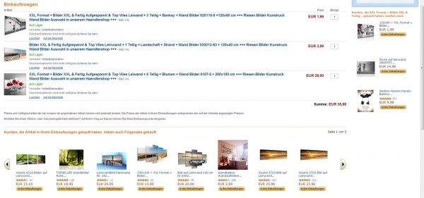 Amazon: Leinwandbilder 120x60 uvm. bis 200 cm ab 1,99 Euro + 9,90 Euro Versand