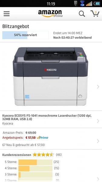 Kyocera ECOSYS FS-1041 monochrome Laserdrucker (1200 dpi, 32MB RAM, USB 2.0)