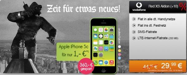 Iphone 5C für 1€ mit Vodafone Red XS Allnet Flatrate für mtl. 29,99 €