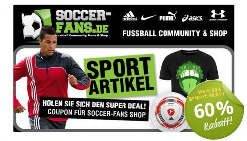 [DEALTICKET] 50€ Gutschein für 19,99€ bei Soccer-fans.de alias SC24.com