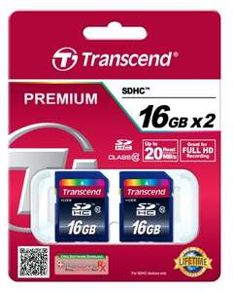 [amazon] Transcend Doppelpack SDHC 16GB Class 10 2-er Pack für 19,19 inkl. Versand (Blitzangebot)