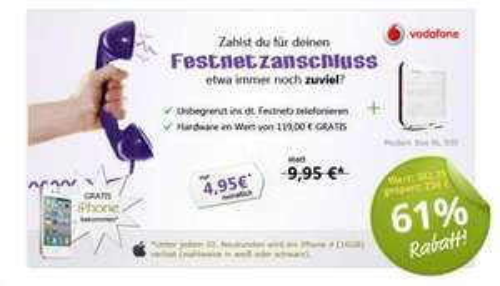 Die Vodafone SuperFlat Festnetz für monatlich nur 4,95 EUR
