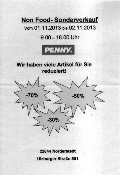 [Penny Norderstedt] Non Food Sonderverkauf 1.11. / 2.11. 9-18 Uhr