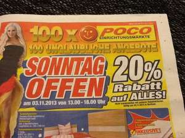 Poco Bochum 20% auf alles am 03.11 / Verkaufsoffener Sonntag