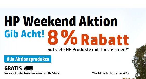 """8% Rabatt auf HP Produkte """"mit Touchscreen"""" im HP Online Store - Weekend Aktion"""