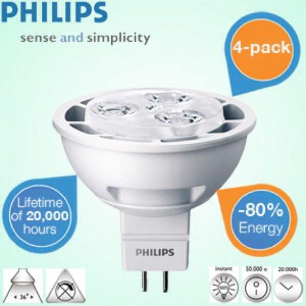 4-Pack Philips LED Strahler GU5.3 mit 300 Lumen / 35,9€