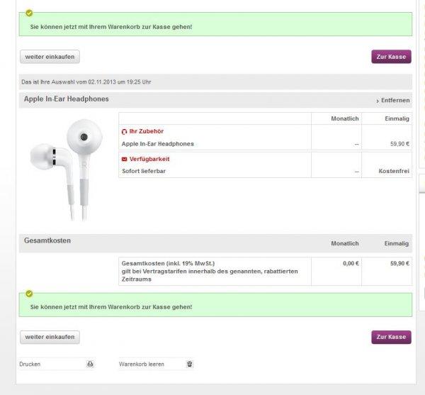Apple In Ear Kopfhörer mit Fernbedienung bei Vodafone.de für 59,00 Euro