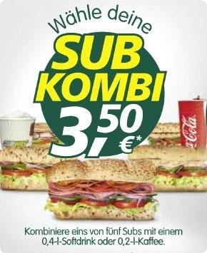 [lokal Hamburg Billstedt und andere?] Sub Kombi bei Subway für 3,50€