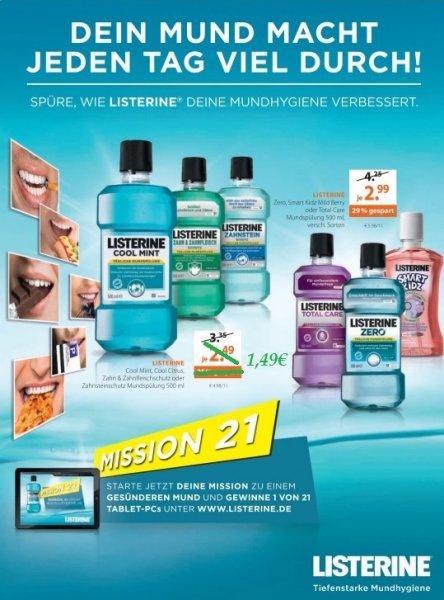 [MÜLLER bundesweit 04.11.-09.11.] Listerine 500ml Mundspülung versch. Sorten für 1,49€ dank Coupon