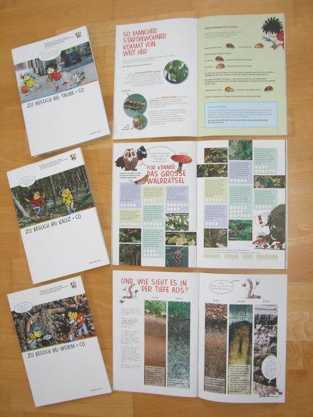 Vier kostenlose Kinderbroschüren über Wald, Wasser, Boden und Stadt des Umweltministeriums NRW - sehr lehrreich -