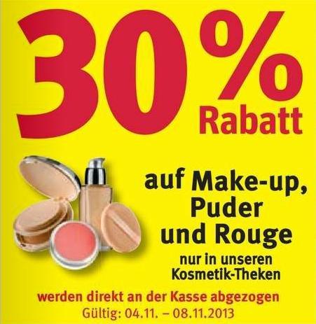 [Rossmann] 30 % auf Make-up, Puder, Rouge + weitere Rabatte