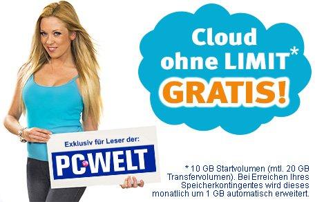 "Unlimitierter Onlinespeicher bei PC-Welt-Aktion mit E-Mail-Anbieter ""@mail.de"""