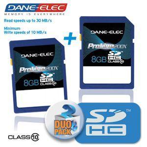 Doppelpack Dane-Elec 8GB SDHC Speicherkarten, Klasse 10, ProLine200x, bis zu 30MB/s Lesegeschwindigkeit