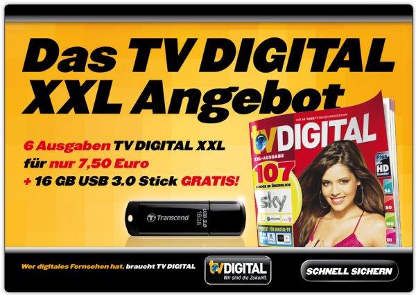 6 x TV Digital XXL + 16 GB Transcend USB 3.0 Stick für 7,50