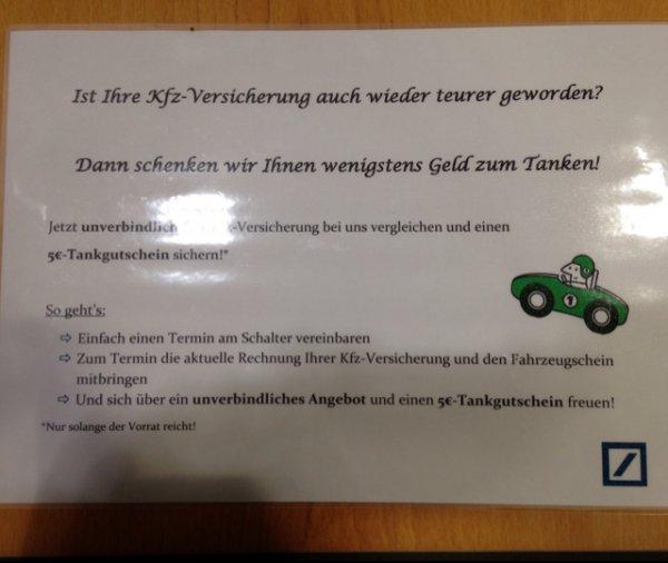 [Lokal] 5€-Tankgutschein bei der Deutschen Bank in Oldenburg