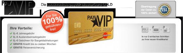 PayVip Kreditkarte mit 25€ Amazon Gutschein