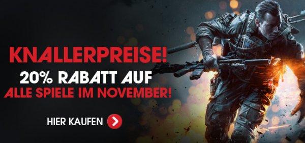 20% Rabatt auf Spiele - auch Vorbestellungen - im November (PC, PS3/4, XBOX/One, alle Plattformen)[WOWHD.de]