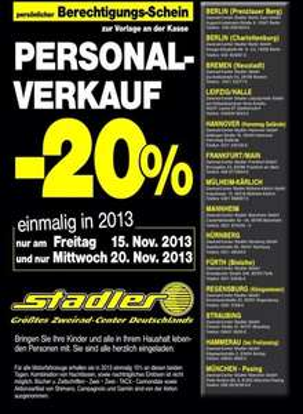 Stadler 20% Rabatt am 15.11.2013 und 20.11.2013