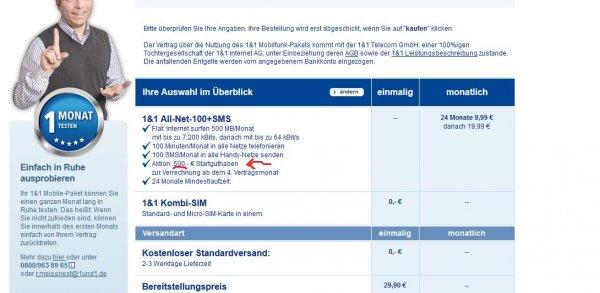 Preisfehler 1und1 Allnet Flat 100 mit 500€ Startguthaben