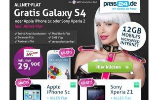 Samsung Galaxy S4 in schwarz kostenlos + Bumper mit Vertrag Allnetflat für 29,90 € monatlich