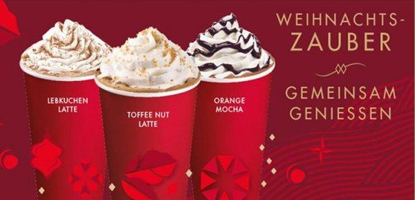 Starbucks: 2 für 1 (bis zu 50% Rabatt) auf ein Weihnachtsgetränk vom 08. bis 10. November