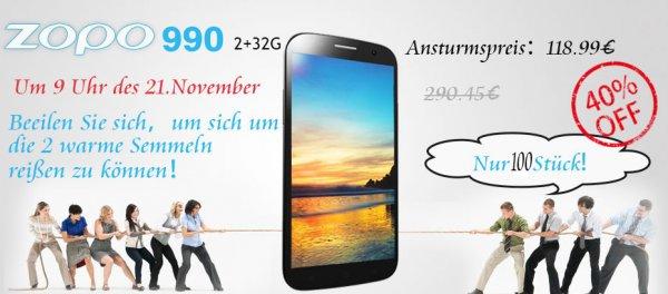 """[lenteen.de] Zopo ZP990 6"""" FHD 2/32GB 4x1,5 GHz 100 Stück nur am 21.11.2013 9 Uhr"""