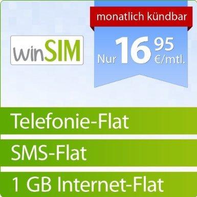 WinSIM Flat: Telefonie-Flat, SMS-Flat, 1GB Daten-Flat für 16,95 €/Mon. o2 SIM/Micro-SIM - einmalig 4,95 € Amazon Blitzangebot