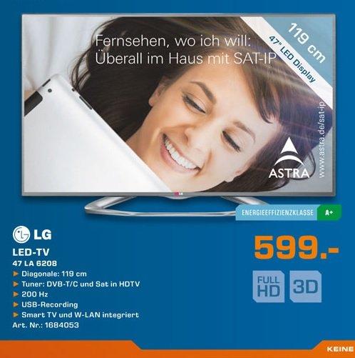 Lokal Hamburg / Saturn / LG 47LA6208 119 cm (47 Zoll) Cinema 3D LED-Backlight-Fernseher, EEK A+ (Full HD, 200Hz MCI, WLAN, DVB-T/C/S, Smart TV)