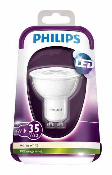 4x Philips LED Reflektor 4 W (35 W) GU10-Sockel Warmweiß für 24,99€