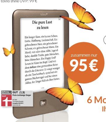 Tolino Shine (Backlight eBook Reader) für 95€ + kostenloses Halbjahresabo