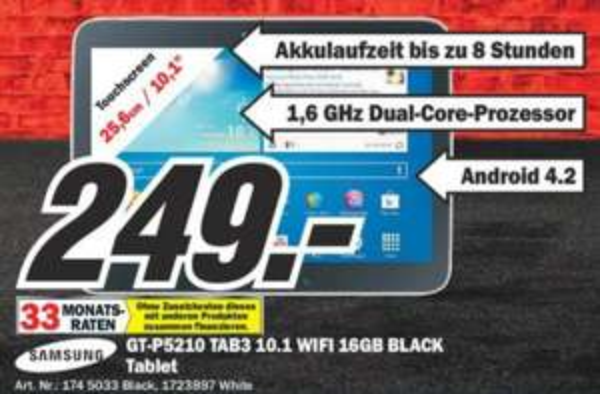 [Mediamarkt Köln Hohe Str.LOKAL] Samsung Galaxy Tab 3 10.1 16GB WiFi 249€