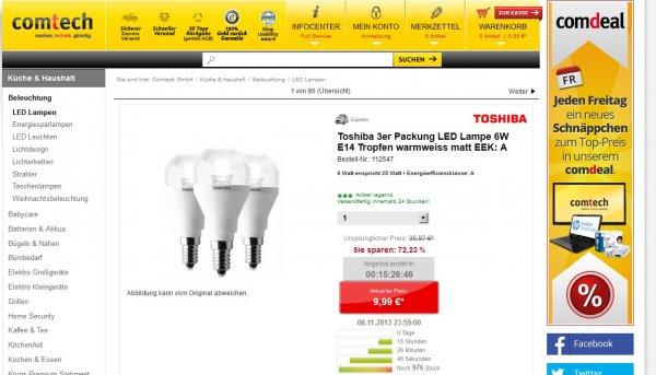 Toshiba 3er Packung LED Lampe 6W E14 für 9,99€ zzgl. Versand