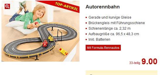 Einfache Kinder Autorennbahn - wohl Bundesweit @ Kaufland für 9,00€