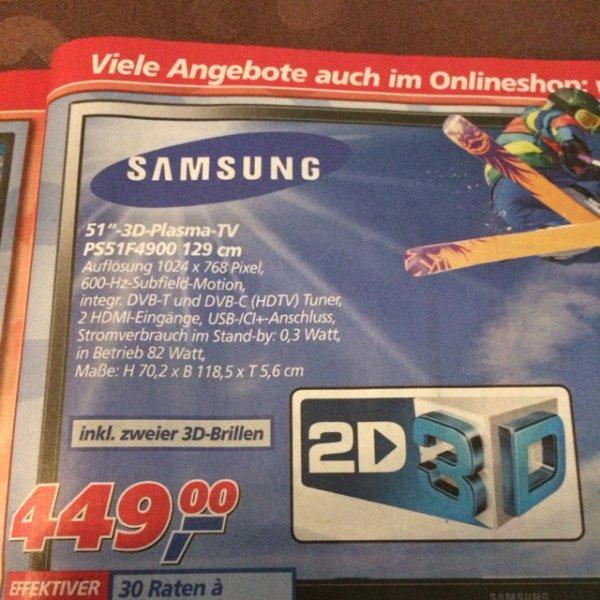 Samsung 3D Plasma 51 zoll ps51f4900 129cm bei real
