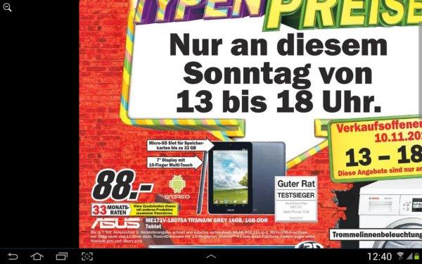Mediamarkt Asus ME172 für 88 Eur
