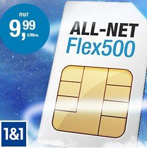 1&1 All-Net Flex500 Vodafone (500 Einheiten Min./SMS, 300 MB für 9,99 €/Mon., MVL 24 Mon.) 30,- Euro Guthaben und 25,- Euro Wechslerbonus über web.de gmx von 1und1