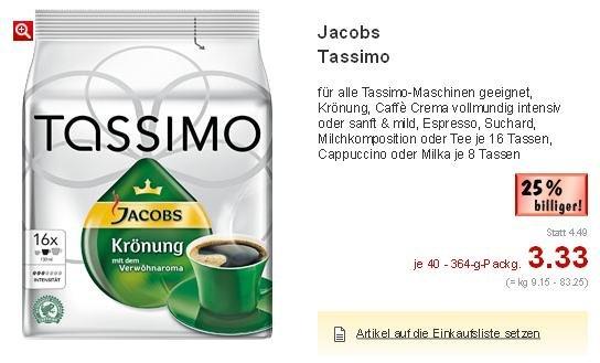 [Lokal Kaufland Norddeutschland] Jacobs Tassimo T-Discs für 3,33€