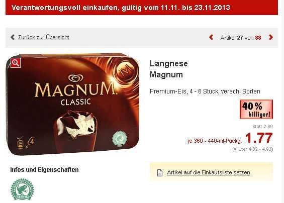 [Kaufland - bundesweit] Langnese Magnum 4-6er für 1.77€