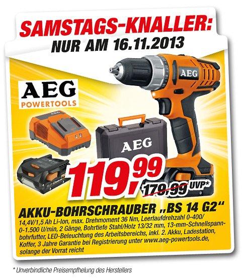 Toom bundesweit - AEG  14V Li-Ion Akku-Bohrschrauber- (Nur am Samstag)