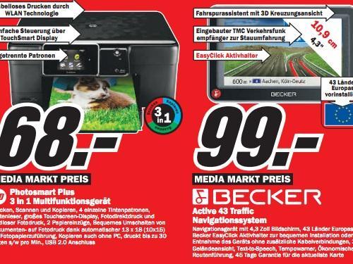 Media Markt Plauen: Becker Active 43 Traffic für 99€ / HP Photosmart Plus (WiFi AiO) für 68€ und mehr gute Angebote!