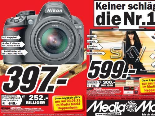 """Media Markt Heppenheim: Nikon D3100 Kit 18-55mm VR für 397€, Samsung UE40D5700 (40"""" LED T/C/S2) für 599€ und mehr!"""