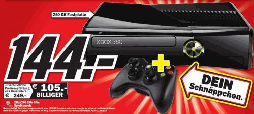XBox360 Elite Slim Spielkonsole 250 GB für 144 € bei Media Markt Neumünster