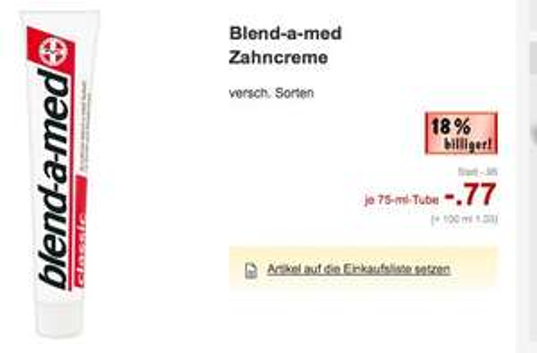 (lokal ?) Blend a med Zahncreme für 0,27€ mit Coupon
