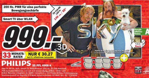 [MM Bochum]  Philips 55PFL4908K/12 140 cm (55 Zoll) 3D LED-Backlight-Fernseher, EEK A++ (Full HD, 200Hz PMR, DVB-T/C/S/S2, CI+, WiFi, Smart TV, HbbTV) schwarz 999€