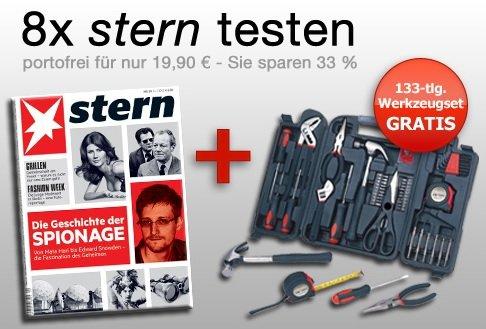 Für Web.de Kunden; Stern-Abo mit Werkzeug-Set und 1250 Web-Cents für 19,90 Euro