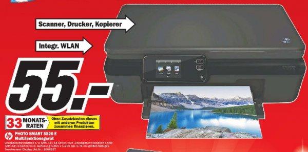 [MM Erding]  HP Photosmart 5520 e-All-in-One Tintenstrahl Multifunktionsdrucker (A4, Drucker, Scanner, Kopierer, Wlan, USB, 4800x1200) 55€