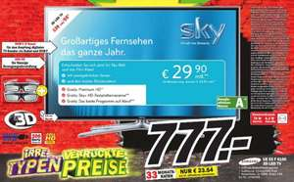 [MM Köln]  Samsung 55Zoll 3D LED-TV UE55F6100  777€