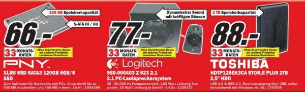 [MM Zwickau ]  SSD  Festplatte PNY XLR8  120GB  66€ (Idealo 85€)  /  Toshiba Stor.E Plus 2TB 2,5 Festplatte USB 3.0 88€(Idealo 105€)